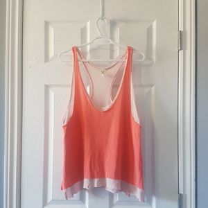 Pink coral raw hem oversized tank We the Free S